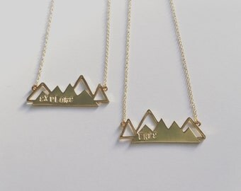 Stamped Mountain Necklace - gold mountain necklace, explore, free, custom stamped necklace, mountain jewelry, stamped jewelry