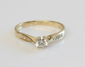 Diamond Engagement Ring 0.40 Total Carats SI1-I1 J-L , 14K Yellow Gold Diamond Ring, Solitaire with Accents, Size Selectable