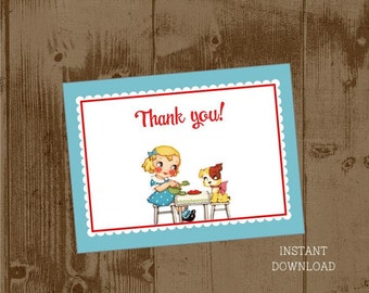 Printable Vintage Dog Tea Party Thank you Cards notes - instant download