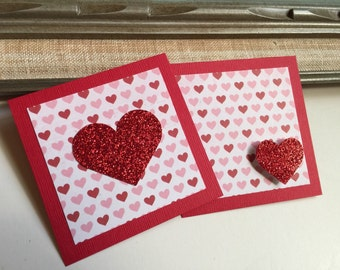 Kids Valentine's Day Class exchange Card | Mini Glitter Heart Cards | Favor Gift Tags Red Valentine | Love Greeting Cards for Classroom