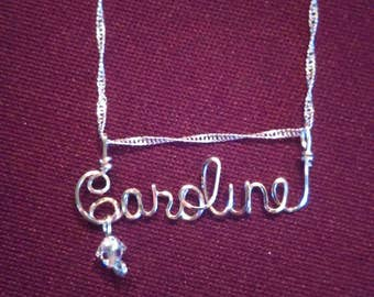 """CAROLINE  or  ANY name  handmade for you!  Wire Name on 18"""" chain, teen gift, tween gift, Personalized, custom, Christmas"""