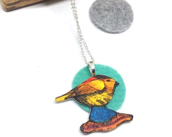 Bird Necklace, Illustrated Animal Shrink Plastic Jewellery, Garden Wildlife Inspired Gift, Spring Birthday Pendant, Gift for Her.