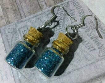 Galaxy Blue Pixie Dust Mini Bottle Earrings