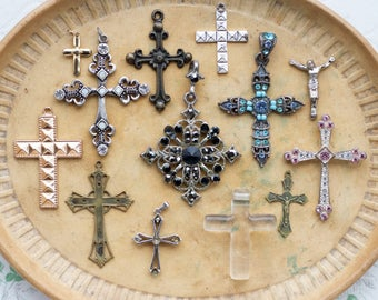 Rhinestone Crosses - Instant Collection of 13 Crucifix Pendants - Jewelry Assemblage Components
