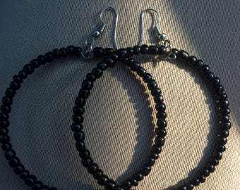 Black Seed Bead Hoop Boho Earrings