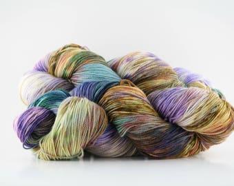 Hand dyed yarn,  100% Fine Non-superwash Merino Wool, 2 ply, fingering weight yarn, 436 yards, 'Ann Linnea (dark)'