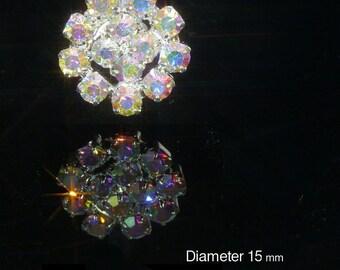 10 x Small Round AB Rainbow Effect Diamante Rhinestone Crystal Embellishments Weddings Craft (EM1)