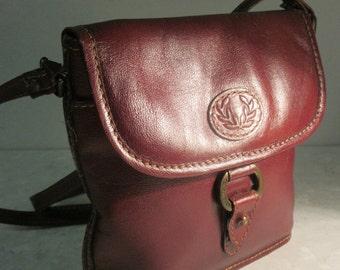Vintage Oxblood Leather 'Jane Shilton' Handbag - Long Strap!! Striped Interior