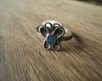 Sterling Silver Turquoise Chip Petite Butterfly Ring 6.75 (94)