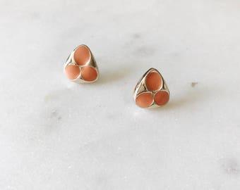 1980's Dead Stock Vintage Gold Coral Enamel Trinity Stud Earrings