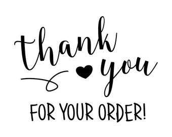"Thank You For Your Order Stamp, packaging stamp, envelope stamp, card and tags stamp, small business stationery, 2""x1.4"" (txt12)"