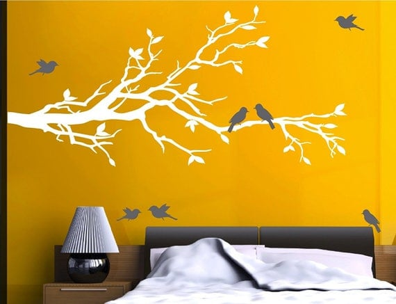 White Tree Branch with 10 Birds Decal by DigiflareGraphics