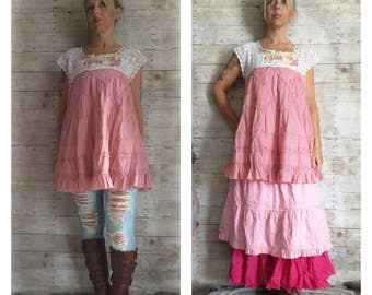 Pink Sunshine Shabby dream fairy mori antique lace prairie patchwork gypsy floral ruffle rustic Boho altered dress top
