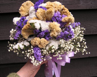 Dried Bridal Bouquet, Wedding Bouquet with Dried Flowers, Hand Tied Dried Bouquet, Dried Country Flowers, Gold, Lavender and White Bouquet