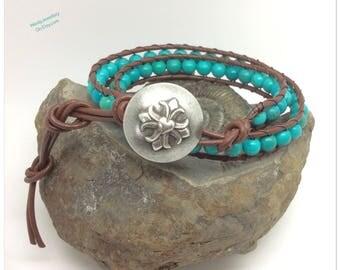 Turquoise Wrap Bracelet Green Turquoise Wrapped Bracelet Turquoise Leather Wrap Bracelet Heart Button Bracelet Handmade Turquoise Bracelet