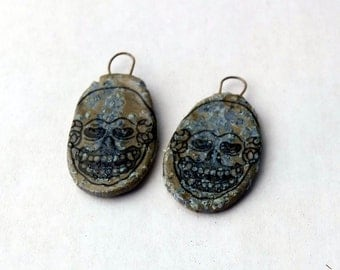 Parchment Art - Vampire Skull  - Earring Shields - a pair of hand made earrings pendants with ceramic decals