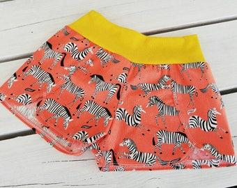 Girls Shorts - Girls Summer Zebra Print Shorts - Zebra Print - Girls Shorts - Kids Tulip Hem Shorts - Cotton shorts for girls