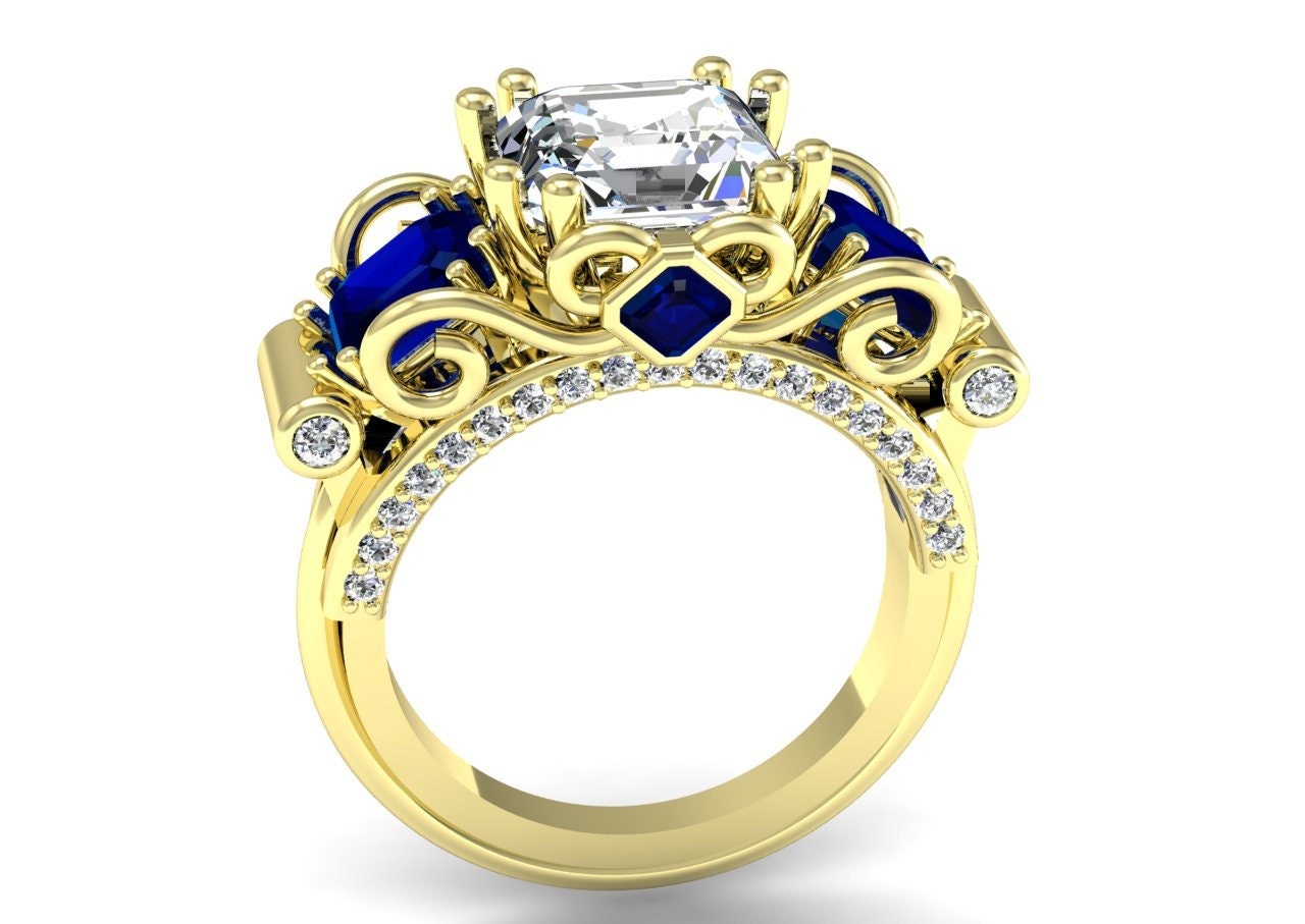 K yellow gold wedding engagement anniversary ring with