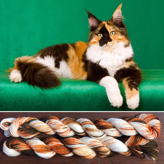Calico Cat Miniskein 20g, cat inspired 4ply fingering superwash merino nylon blend indie sock yarn