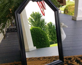 SALE..Vintage Black Lacquered Large Burwood Mirror, Polygon Mirror, Mid Century, French Country, Art Deco, Chinoiserie, Statement Wall Decor