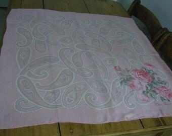Vintage Nina Ricci Pink Rose Silk Scarf