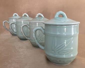 Asian Teacup Set, Lidded Teacup, Celadon Green, Bamboo Pattern, Glazed Ceramic, Lidded Teacup, Raised Bamboo Design, Prosperity Wedding Gift