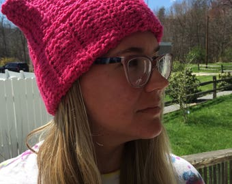 Pink kitty hat, pink cat hat, pink message hat, womens hat, pink crochet hat, women's march hat, bright pink crochet hat, free domestic ship