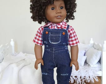 18 inch doll denim overalls | red and white gingham shirt
