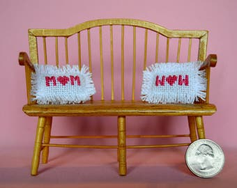 Mom is Wow Upsidedown Mother's Day Dollhouse Miniature Cross Stitch Pink Pillow With Heart