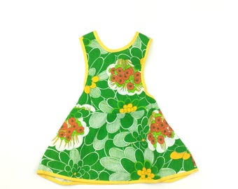 Vintage French green yellow flower pinafore dress age 1 months