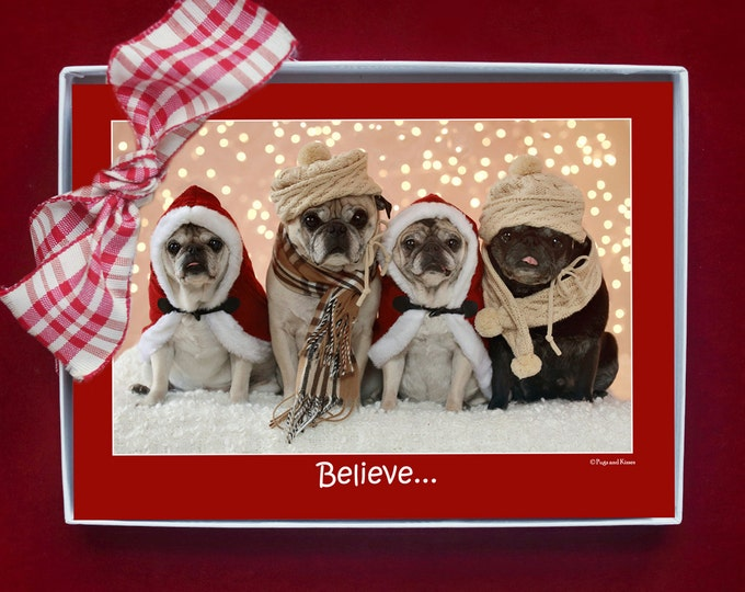 BOXED HOLIDAY Cards - Pug Holiday Cards - 5x7 - Believe in the Magic