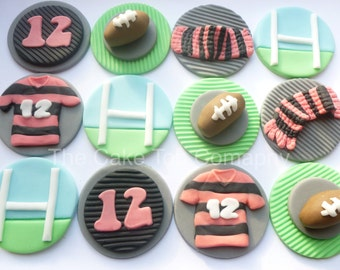 Rugby Fondant Cupcake Toppers