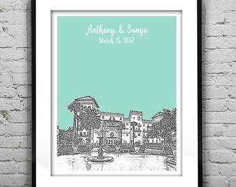 St. Augustine Florida Wedding Guest Book Gift Guestbook Poster Print FL