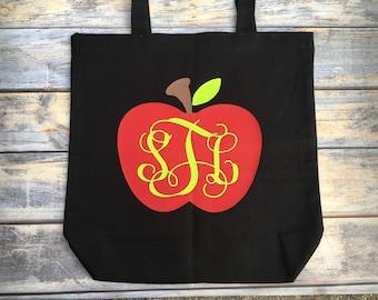 Monogrammed Teacher tote/teacher gift/personalized teacher tote/apple monogram/cute teacher gift