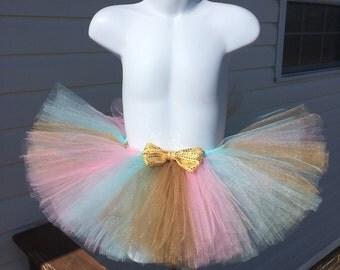 Pink and Gold Tutu, Pink, Aqua, and Gold Tutu, Pink Tutus, Pink and Gold Birthday, Aqua Tutus, Newborn Tutus, Baby Girl Photo Prop