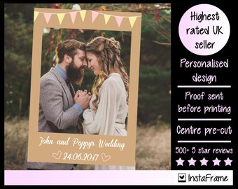 Large/medium personalised vintage country bunting photo booth prop frames! Perfect for Weddings, Birthdays and any other event!