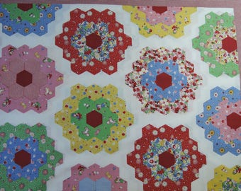 "1 Panel of  Lecien Retro 30's Child Smile Hexagon Grandma's Flower Garden Quilt Fabric in Red Border. Approx. 24"" x44"" Made in Japan"