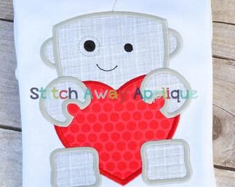Robot Heart Valentine's Day Machine Applique Design