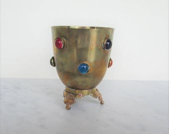 70's jeweled brass candle holder made in India for W M Rogers & Son