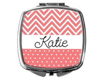 Personalized Compact Mirror - Coral Personalized Purse Mirror - Personalized Bridesmaids Gifts