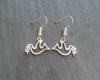 Peace Dove with Olive Branch Earrings