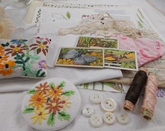 Inspiration Kit - craft inspiration kit, vintage inspiration kit. durham quilt, gift for mum, handbag mirror, mothers day gift