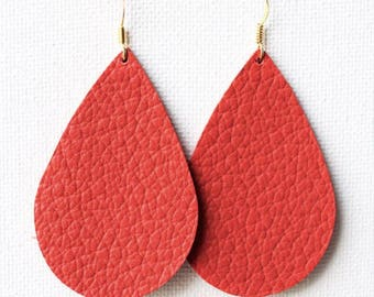 Blood Orange Leather Tear Drop Earrings