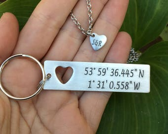 Military Couples Gift | Boyfriend Gift - Couples set-Custom Coordinate Keychain with cut out heart necklace | Anniversary GPS Keychain