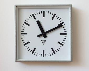 Vintage industrial Pragotron factory clock