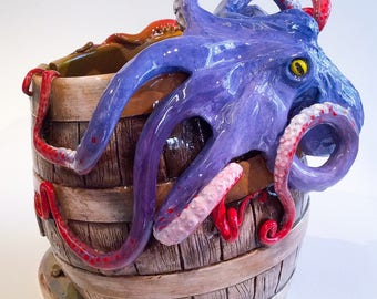 Octopus on a barrel yarn bowl.