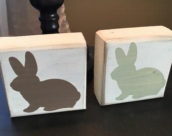Easter/ Spring handmade wooden bunny blocks