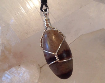 Sterling Silver and Shiva Lingam Pendant