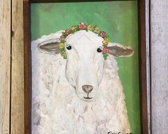 SALE Lamb Painting- Sheep Painting- Nursery Art- Lamb Art- Sheep Art- Farm Animal Art- Flower Crown- Boho Decor- Farm Animal Nursery- Easter