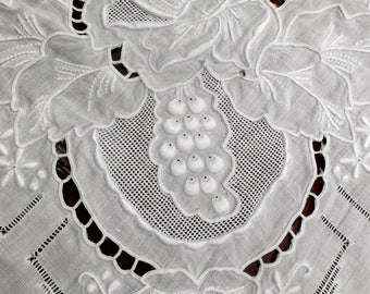 Antique Italian linen embroidered tablecloth padded stitches and appenzel~heirloom quality~Sale!